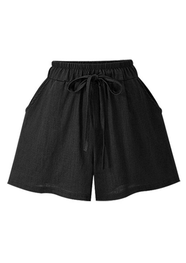 Womens Solid Color Classic Desgin Cool Comfy Summer Shorts Black 2XL(US-10)