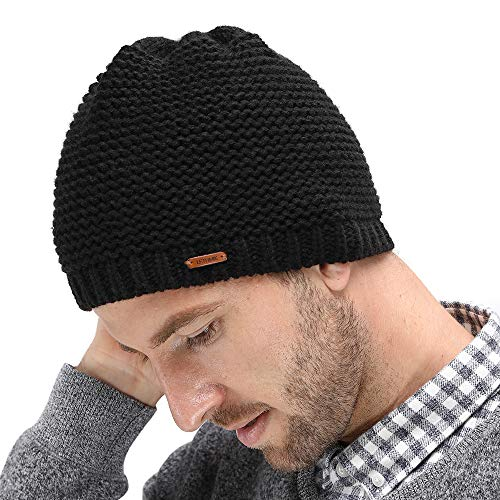 16cf2040381 LETHMIK Fleece Lined Beanie Hat Mens Winter Solid Color Warm Knit Ski Skull  Cap