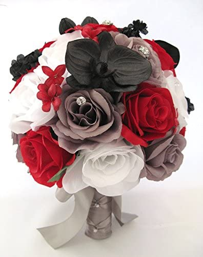 Amazon Com Wedding Bouquets Bridal Silk Flowers Red Black White