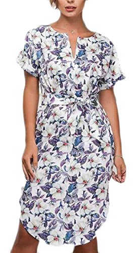 Sleeve Causal Belt with V Midi Women's Short Neck 2 Dress Jaycargogo Floral Print PqxOX5pnna