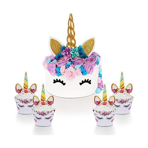 Unicorn - Decoración para tartas con pestañas y unicornio para cupcakes y envoltorios – Kit de decoración de fiesta de unicornio para fiesta de cumpleaños, baby shower y boda