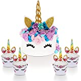Unicorn Cake Topper with Eyelashes and Cupcake Toppers & Wrappers (Set of 24) - Unicorn Party Decoration Kit for Birthday, Baby Shower, and Wedding