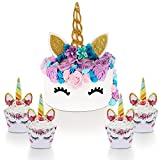 Unicorn Cake Topper with Eyelashes and Unicorn Cupcake Toppers & Wrappers - Unicorn Party Decoration Kit for Birthday, Baby Shower and Wedding