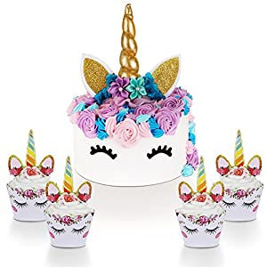 Unicorn Cake Topper with Eyelashes and Unicorn Cupcake Toppers & Wrappers Set – Unicorn Party Decorations Kit for…