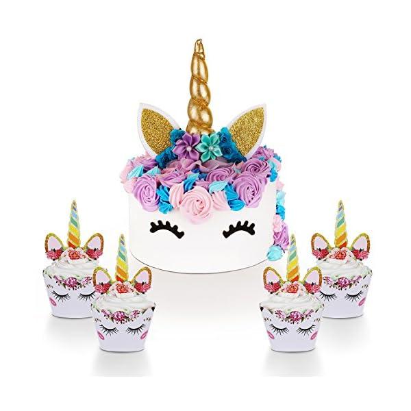 Unicorn Cake Topper with Eyelashes and Unicorn Cupcake Toppers & Wrappers Set - Unicorn Party Decorations Kit for… 3