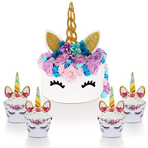 Unicorn Cake Topper with Eyelashes and Unicorn Cupcake Toppers & Wrappers Set - Unicorn Party Decorations Kit for Birthday Party, Baby Shower and Wedding]()