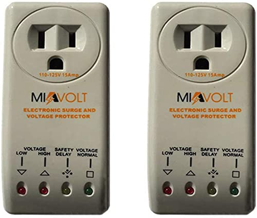 2-Pack Refrigerator 1800W Voltage Brownout Appliance Surge Protector 3-Years Warranty