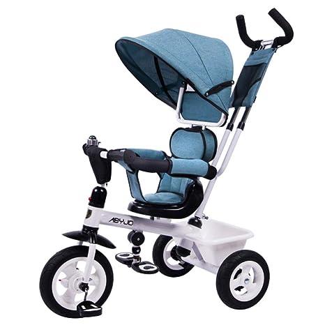 GSDZSY - Triciclo Cochecito para Niños 3 Ruedas Bicicleta 4 En 1, con Manillar Extraíble