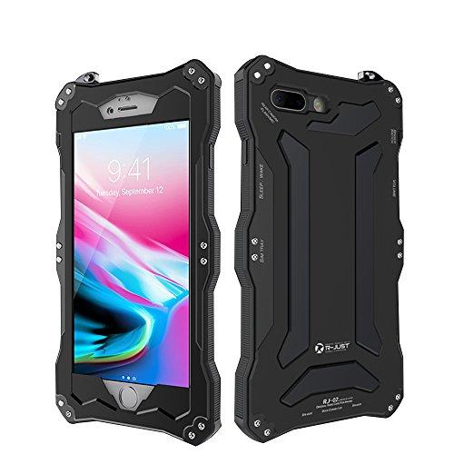 R-JUST Waterproof Shockproof Metal Aluminum Gorilla Glass Case for Apple iPhone 8 Plus - Black