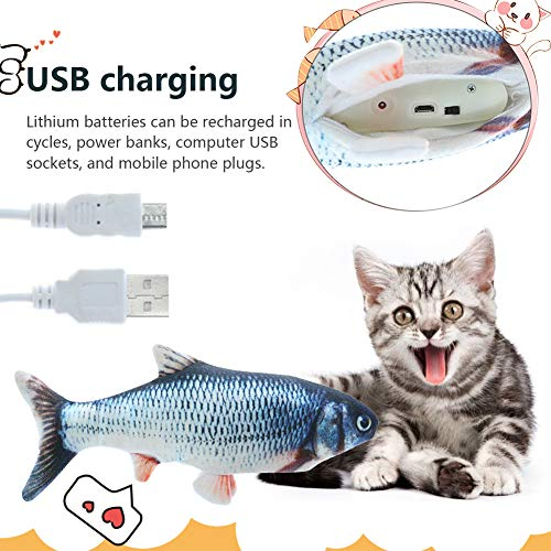 HLovebuy Catnip Fish Toys, Realistic Plush Simulation Electric Doll Fish,Cat Wagging Fish Realistic Plush Toy, Simulation Catnip Soft Interactive Chewing Toy for Cat/Kitty/Kitten 5
