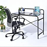 Office Glass Computer Desk,Study Laptop Desk,Sturdy Glass Surface with Metal Frame Workstation for Home Office Bedroom Students Table - Black