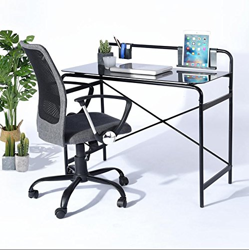Office Glass Computer Desk,Study Laptop Desk,Sturdy Glass Surface with Metal Frame Workstation for Home Office Bedroom Students Table - Black (Black Desk Small Student)