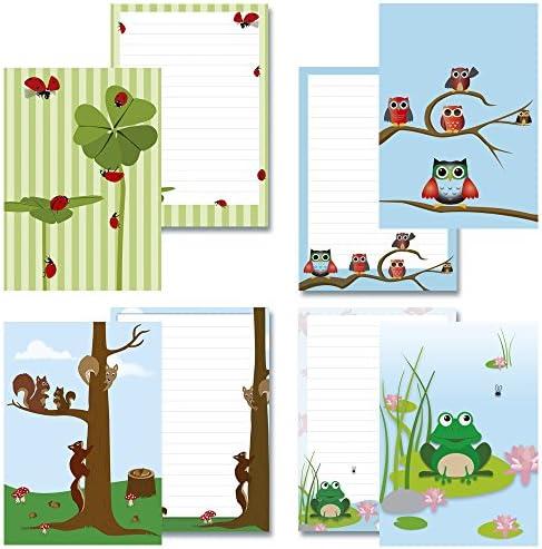 4 Schreibblöcke Set Frosch + Eulen blau + Glücksklee + Eichhörnchen 50 Blatt Format DIN A5 mit Deckblatt 7070+80+90+190