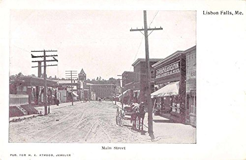 Lisbon Falls Maine Main Street Antique Postcard J73073