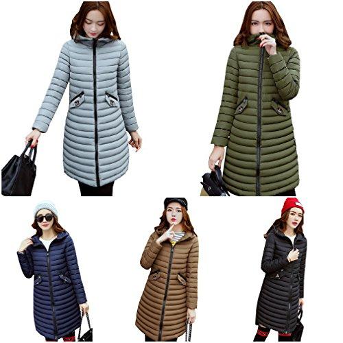 Blue Thicken Down Coat Casual Coat Overcoat Ladies Hooded Womens Bigood z5qxwRq
