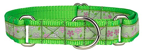 Country Brook Design Fresh Spring Floral Woven Ribbon on Hot Lime Green Martingale Dog Collar Limited Edition - Large