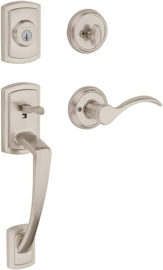 Baldwin Nautica Single Cylinder Front Door Handleset Featuring SmartKey Security in Satin Nickel, Prestige Series with Traditional Door Hardware and Tobin Lever