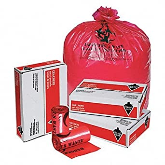 TOUGH GUY Hospital Islation Bag 40to45gal Red PK50