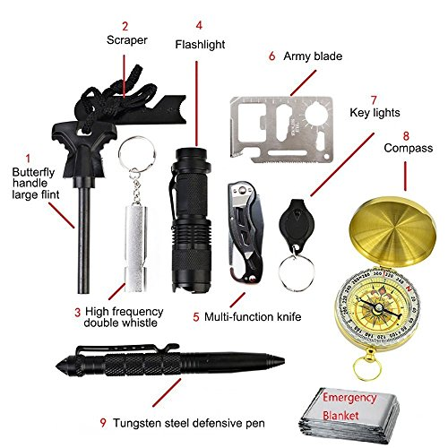 Emergency Survival Gear Kit 10 in 1 Survival Tool EDC with Fire Starter, Flashlight, Camping Fishing Trekking Wild Adventure Earthquake Mountaineering Birthday Graduation Fathers Day Gift for Men
