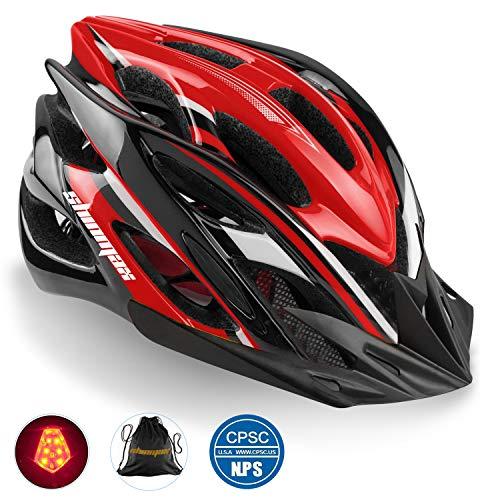 Shinmax Bike Helmet, CPSC Certified Adjustable Light Bike Helmet Specialized Cycling Helmet Men&Women Mountain Bike Helmet with Visor&Rear Light (Black red White)