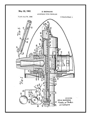 Adjustable Pitch Propeller Patent Print Black Ink on White w