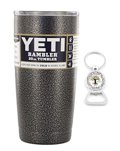 Custom YETI Coolers Powder Coated or Hydro Dipped Insulated Stainless Steel 20 Ounce (20 oz) (20oz) Rambler Tumbler Travel Cup Mug with Lid and Bottle Opener Keychain (Silver Vein)