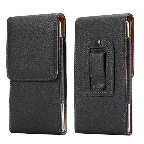 Premium PU Leather Vertical Case Holster with Belt Clip for Samsung Galaxy Note 8 / Galaxy S8 Active / Motorola Moto G5s / E4 Plus / LU Studio J8 / Grand XL / BLU Vivo 8 / Alcatel Idol 5S (Black3)