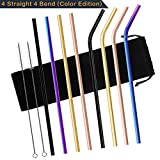 Chacca Reusable Metal Straws with Cleaning Brush 10.5 Inch Long for 20OZ Yeti Tumbler Smoothie Drinking Rainbow Straws,8 Packs (4 Bent+4 Straight)