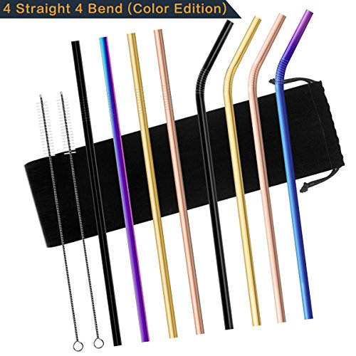 Chacca Reusable Metal Straws with Cleaning Brush 10.5 Inch Long for 20OZ Yeti Tumbler Smoothie Drinking Rainbow Straws,8 Packs (4 Bent+4 Straight) by Chacca