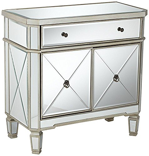 Powell Mirrored 1-Drawer, 2-Door Console (Bedside Cabinets Mirrored)