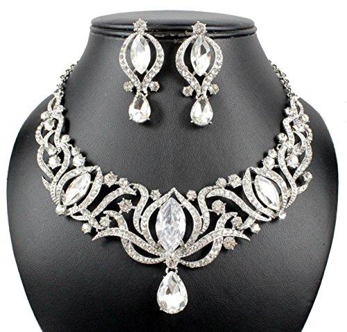 Janefashions Glamorous Clear Austrian Rhinestone Crystal Necklace Earrings Set N1782 -