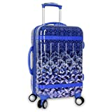 Summer Wild Floral Theme Spinner Lightweight Expandable Carry On Luggage Suitcase, Modern Geometric Diamonds Stripes Motif, Hardside, Fashionable, Multi Compartment, Hard Travel Case, Purple, Size 20''