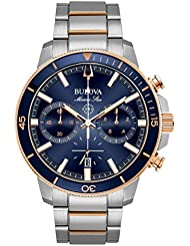 Bulova Mens 45mm Marine Star Two-Tone Stainless Steel Blue Dial Chronograph Bracelet Watch