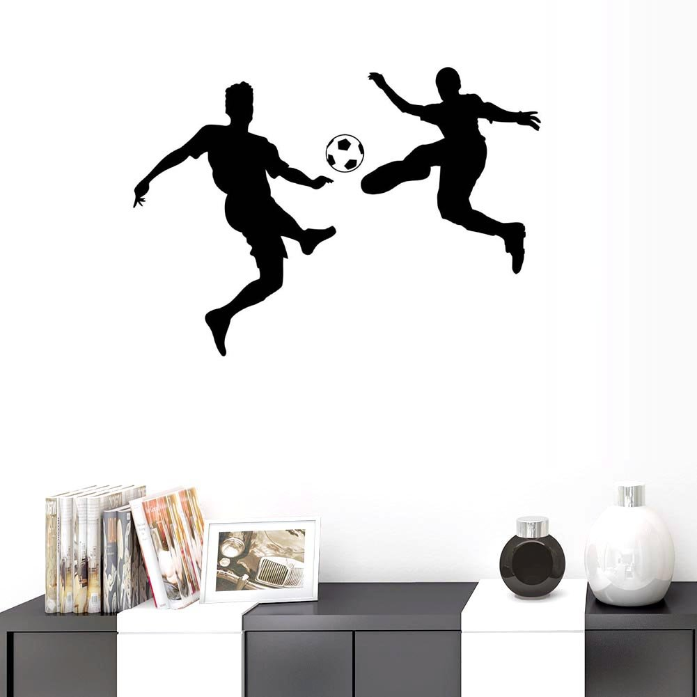 BIBITIME Black Vinyl Soccer Ball Wall Decal 2 Football Athletes Players Silhouette Stickers World Cup Game Fans Theme Bedroom Children Kids Room Decor PVC Decorations
