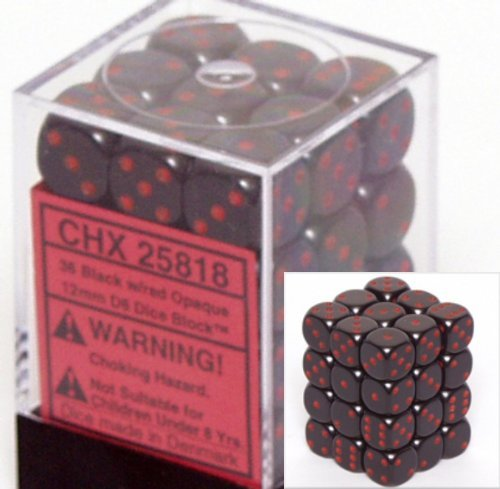 Chessex Dice FBA_25818 Chessex Opaque 12mm d6 Black w/Red Dice Block 36 Dice, Black/Red (36 Dice Set)