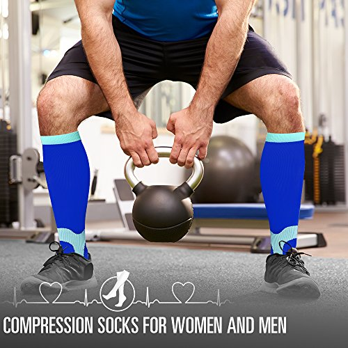 7 Pairs Compression Socks For Women and Men - Best Medical, Nursing, for Running, Athletic, Edema, Diabetic, Varicose Veins, Travel, Pregnancy & Maternity - 15-20mmHg (Assort7-L/XL) by BLUETREE (Image #3)