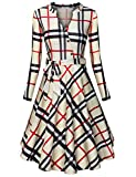 Diphi LiLi Women's V Neck Dresses Long Sleeve Botton Down Shirt Vintage Plaid Dress (Beige Plaid, Small)