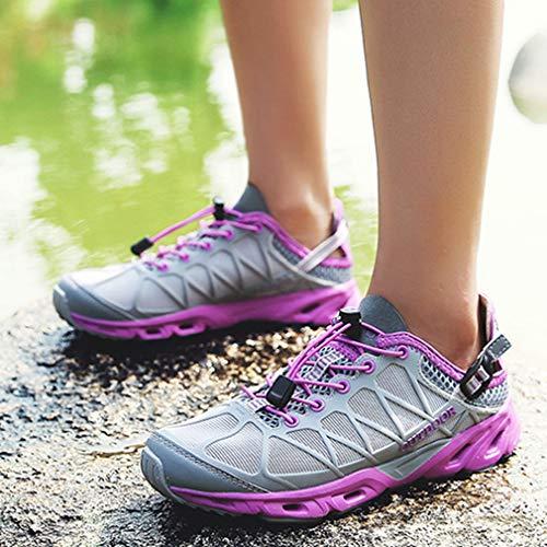 Gray Casual Slip Outdoor Gray Trail Women's purple Waterproof Running Lightweight Mesh Shoes Hiking Shoe Non Hiker 8w6Cvq