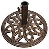 Sundale Outdoor Universal Heavy Duty Cast Iron Stand Patio Umbrella Base Garden, Lawn, Pool, Yard, Antique Bronze Finish, 17.5-in Diameter, 27 lbs