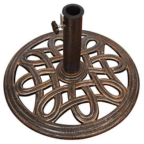 Sundale Outdoor Universal Heavy Duty Cast Iron Stand Patio Umbrella Base for Garden, Lawn, Pool, Yard, Antique Bronze Finish, 17.5-in Diameter, 27 lbs ()