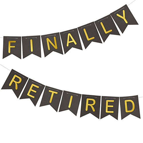 "Retirement Banner - ""Finally Retired"" Happy Retirement Party Supplies, Funny Retirement Decorations, Black and Gold, 11 Feet in Length"