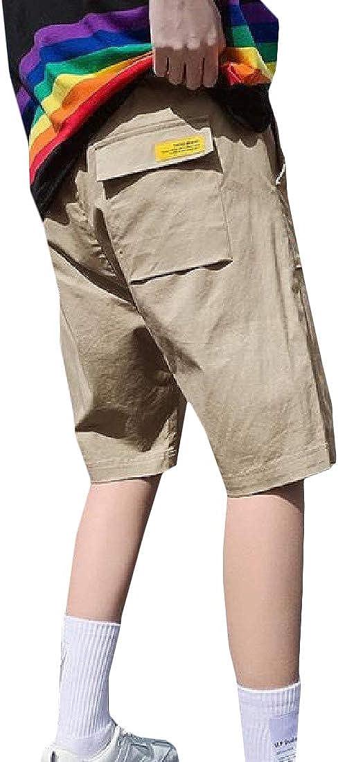Lutratocro Men Elastic Waist Multi Pocket Zip Up Drawstring Solid Cargo Shorts
