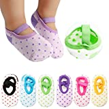 Cubaco 6 Pairs Baby Socks Non Skid Anti Slip Slipper Cotton Socks With Grips and Straps For Baby Toddler Girls