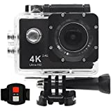 4K WIFI Action Video Camera, 16MP Waterpoof DV Camcorder with 2.4G Remote Control, 170 Degree View Angle, 2 Batteries Included