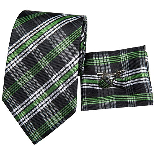 Hi-Tie Men Green Check Plaid Tie Necktie with Cufflinks and Pocket Square Tie Set