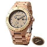 BEWELL Wood Watches for Men Lightweight Maple Wooden Luminous Calendar Quartz Wristwatches W023B