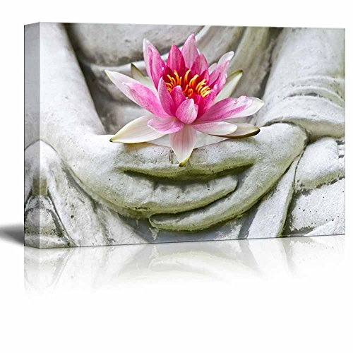 Buddha Hands Holding Flower Wall Decor Wood Framed