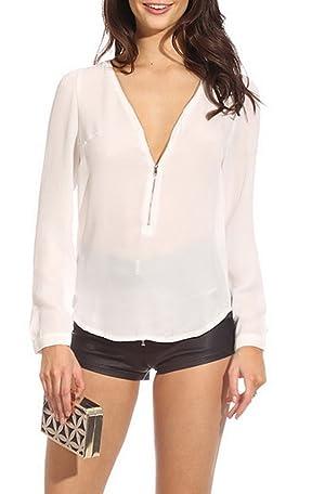 Toyobuy Women Zipper Deep V-Neck Long Sleeve Chiffon Shirt Blouse Top White XL