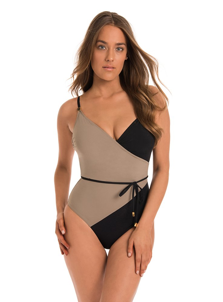 Amoressa by Miraclesuit Women's One Piece Surplice Swimsuit Mink Brown 10