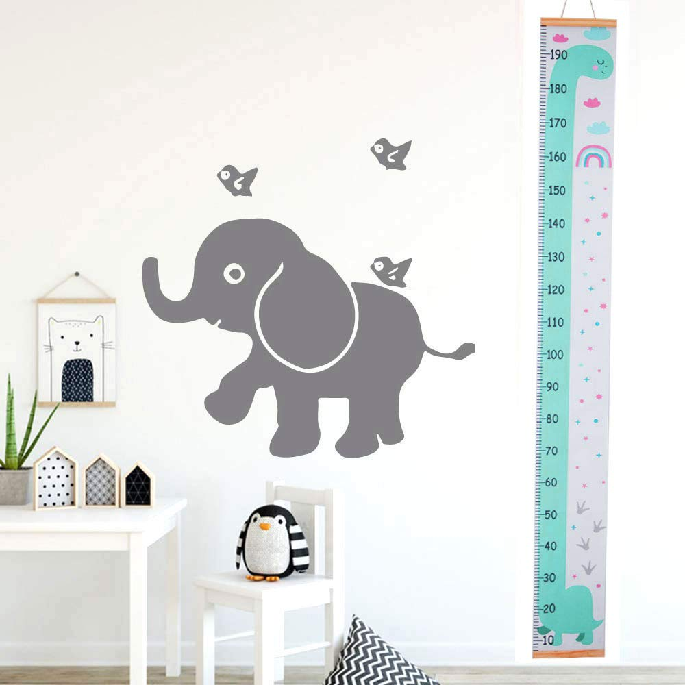 Wood and Canvas Height Measurement for Baby Nursery Decoration Child Height Chart Handing Ruler Wall Decor for Kids Atomcool Baby Growth Chart Green Dinosaur